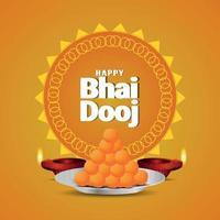 feliz tarjeta de felicitación de invitación de bhai dooj con vector creativo dulce y diwali diya