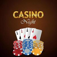 Online casino gambling game with creative playing cards, casino chips with golden text effect vector