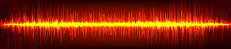 Onda de sonido digital de llama roja sobre fondo marrón, concepto de onda de tecnología, diseño para estudio de música y ciencia, ilustración vectorial. vector