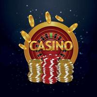Realistic casino invitation greeting card with vector chips, roulette and background