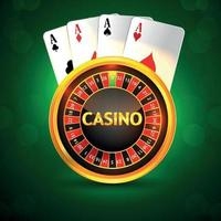 Casino invitation greeting card with creative roulette playing card and chips vector