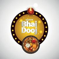 Happy bhai dooj indian festival celebration greeting card with vector pooja thali and sweets