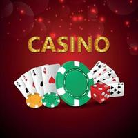 Casino online gambling game with creative vector playing cards and casino chips