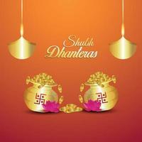 Ilustración creativa de la tarjeta de felicitación de invitación shubh dhanteras con olla de monedas de oro con fondo creativo vector