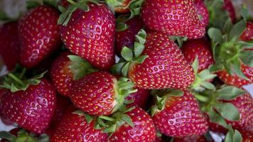 Strawberries Rotating on a Close-Up video