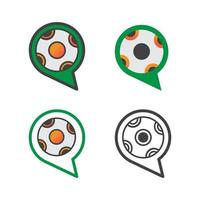 chat with soccer ball ilustration design. chat with soccer ball icon isolated on white background. ready use vector. vector