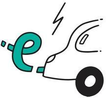 E car Doodle. Green energy vector