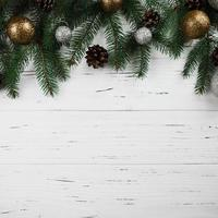 Christmas composition of green fir tree branches photo