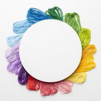 Circular frame with colorful thread photo