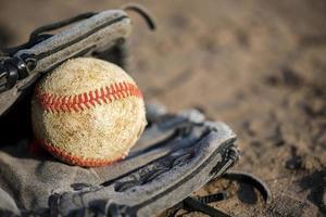 guante de béisbol con espacio de copia foto