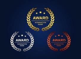 premio logotipo con corona de laurel vector