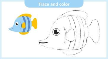 Trace and Color Fish vector