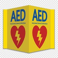 Symbol AED Sign label on transparent background vector