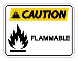 Caution Flammable Symbol Sign on white background vector