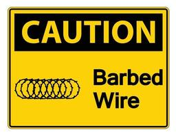 Caution Barbed Wire Symbol Sign On White Background,Vector Illustration vector
