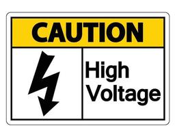 Caution high voltage sign on white background vector
