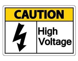 Señal de precaución de alto voltaje sobre fondo blanco. vector