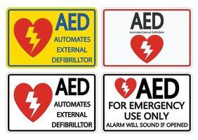 Establecer símbolo etiqueta de señal AED sobre fondo blanco. vector