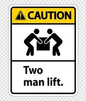 Two man lift  Symbol Sign Isolate on transparent Background,Vector Illustration vector