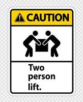 Two person lift Symbol Sign Isolate on transparent Background,Vector Illustration vector