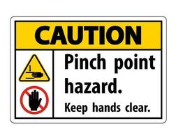 Caution Pinch Point Hazard,Keep Hands Clear Symbol Sign Isolate on White Background,Vector Illustration vector