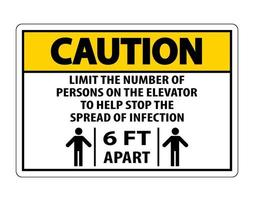 Caution Elevator Physical Distancing Sign Isolate On White Background,Vector Illustration EPS.10 vector