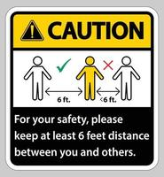 Caution Keep 6 Feet Distance,For your safety,please keep at least 6 feet distance between you and others. vector