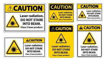 Caution Laser radiation,do not stare into beam,class 2 laser product Sign on white background vector