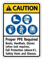 Caution Sign Proper PPE Required Boots, Hardhats, Gloves When Task Requires Fall Protection With PPE Symbols vector