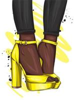 Women's legs in stylish high-heeled shoes. Fashion and style, clothing and accessories. vector