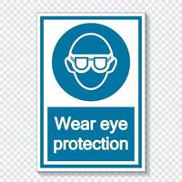 Symbol Wear eye protection  on transparent background vector