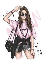 Beautiful girl in stylish clothes. Fashion and style, clothing and accessories. vector
