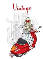 Beautiful girl in stylish clothes on a vintage moped. Fashion and style, clothing and accessories. vector
