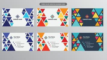 Modern Colorful Triangles Business Cards For Multiple Purposes vector