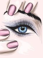 Girl with beautiful eye makeup and manicure. Fashion and Style. vector