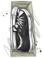 A box of stylish sneakers. vector
