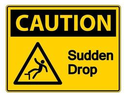 Caution Sudden Drop Symbol Sign On White Background,Vector Illustration vector