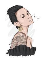 retrato de una hermosa niña con un elegante corte de pelo y maquillaje. moda y estilo, indumentaria y complementos. vector