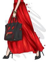 Women's legs in beautiful high-heeled shoes. Fashion and style, shoes and accessories. vector