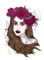 Portrait of a beautiful girl in a floral wreath. Fashion and style, clothing and accessories. vector