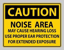 Caution PPE Sign, Noise Area May Cause Hearing Loss, Use Proper Ear Protection For Extended Exposure vector