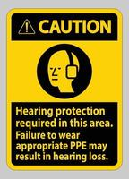 Caution Sign Hearing Protection Required In This Area, Failure To Wear Appropriate PPE May Result In Hearing Loss vector