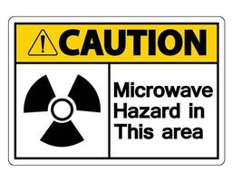 Caution Microwave Hazard Sign on white background vector