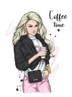 Beautiful girl in stylish clothes and with a glass of coffee. Fashion and Style. vector