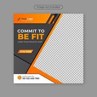 Gym Fitness social media post design template. vector
