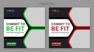 fitness or gym social media post and flyer design. vector