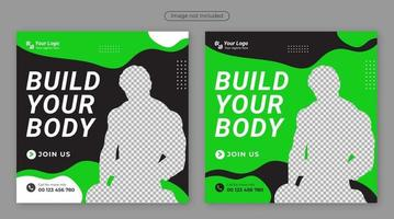 GYM or Fitness Flyer template with grunge shapes. vector