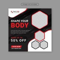 gimnasio fitness diseño de plantilla de publicación de redes sociales para anuncios de Internet y web. vector