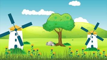 moinhos de vento na planície verde em um dia de vento