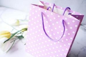 Purple polka dot gift bag photo